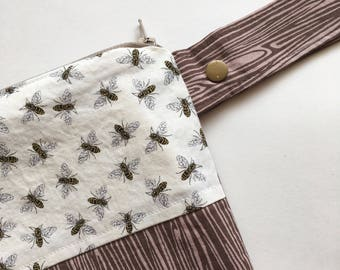 Bees Double Pocket Purse Size Wet Bag - Perfect for Cloth Menstrual Pads