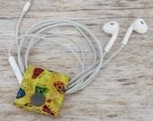 Fabric Cable iPhone Cord Holder Earphone Earbud Holder Cable Holder Cable Cord Organizer Cable Organiser - Ladybugs on Yellow Fabric