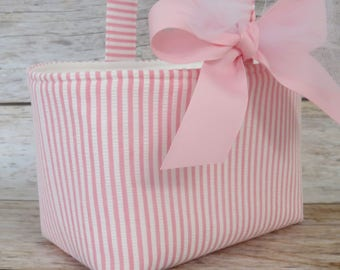 READY TO SHIP - Easter Fabric Candy Egg Hunt Basket Bucket Storage Container Bin - Pink White Seersucker Fabric