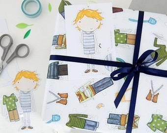 SALE Colin Paper Doll Wrapping Paper Set - Dress Up Wrapping Paper - Colin Paper Doll Activity Gift Wrap - Children's Dress Up Toy