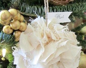 Shabby White Christmas  Ornament, Rag Ball, Rustic Christmas Tree Ornament Set/5