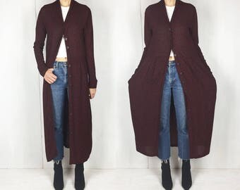 Burgundy and Black Geometric Floral Duster Maxi Dress