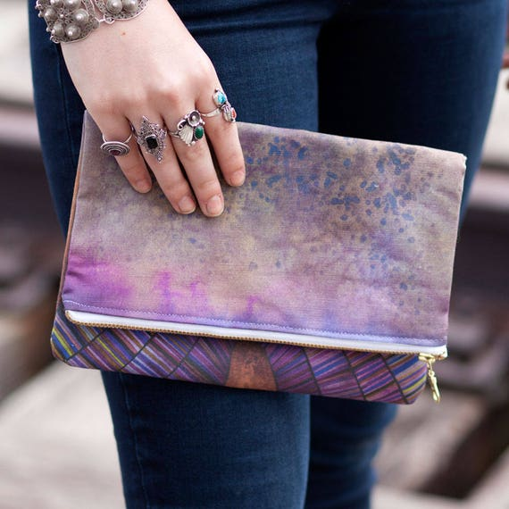 LIMITED EDITION Painted Fold Over Clutch fabric clutch iPad mini case YKK zipper
