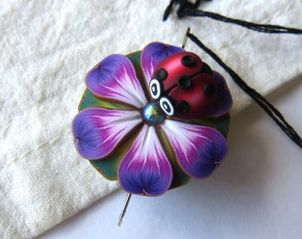 Ladybug on a Purple Flower Needle Minder Magnetic Sewing Needle Notions