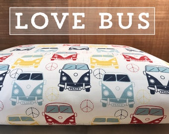 Dog Bed Cover, Love Bus Dog Bed Duvet Cover, Cat Bed Cover, Small to XL Covers for Dog Beds, Personalization Extra