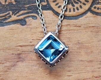 Blue topaz pendant, bezel necklace, December birthstone necklace, silver slide necklace, unique square gemstone necklace, ready to ship