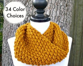 Hand Knit Cowl Scarf - Mobius Cowl Butterscotch Golden Yellow Cowl - Yellow Cowl Yellow Scarf Womens Accessories - 34 Color Choices