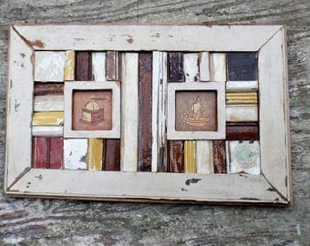 Mosaic Wood Art, Framed Italian Tiles, Rustic Wall Decor, Kitchen Decor,  Reclaimed