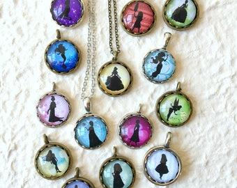 Disney Princess Necklace Pick Your Princess Elsa, Anna, Ariel, Mulan, Moana, Tiana, Merida, Belle, Aurora, Cinderella, Rapunzel, and more