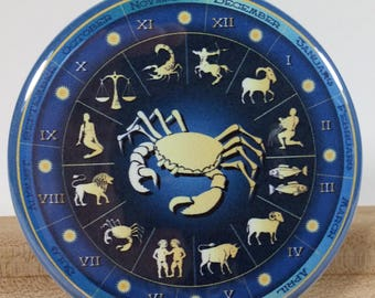 Collectible Pocket Hand Make-up Mirror 2.25 inch - Zodiac Sign CANCER