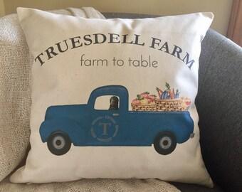 Old pickup truck decorative throw pillow cover, personalized farm pillow, autumn pillow, farmers market, gardener gift, farmhouse decor