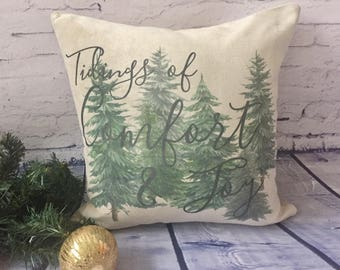 comfort and joy christmas throw pillow/ christmas pine tree/ greenery pillow/ farmhouse decor/ cabin decor