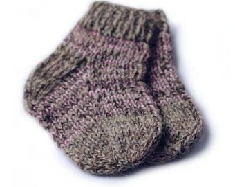 100% wool baby socks Handknit 18-24 months