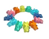 Gummy Bear Soaps - Fun Novelty Soaps - Candy Theme Party Favors - Rainbow Set - Single Use - Clear Glycerin Soap - Detergent Free