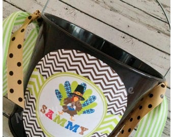 ON SALE Personalized Thanksgiving Turkey Pail