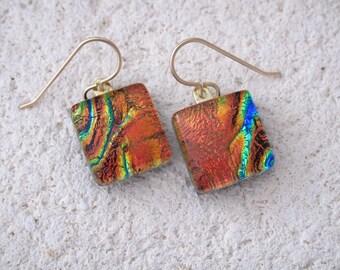 Petite Golden Red Earrings, Dangle Drop Earrings, Dichroic Earrings, Fused Glass Jewelry, Gold Filled Earrings, Ccvalenzo, 061117e102