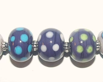 EKR - Lampwork Beads - (9) Purple-Green-Blue Dots Bead Set - SRA / Handmade Glass Beads / Beads for Jewelry / Jewelry-making / For Her