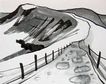 Mam Tor, Peak District Landscape, Black & White, Original Wall Art.