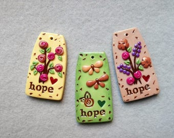 Set of Hope Word Charms/Flower Charms/Life Message Charms - Hope
