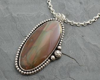Imperial Jasper Pendant. Oval Pendant. Silver Jasper Necklace. Cabochon Pendant. Silver Cabochon Jewelry. Imperial Jasper Gemstone