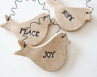 Dove Pottery Ornaments,  set of 4 birds, Handmade Christmas Tree Decoration Ornaments, Gift box included