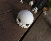 Porcelain skull salt shaker, Handthrown