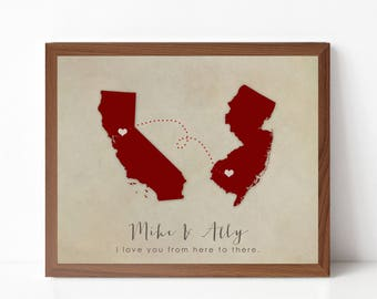Valentines Day Gift Print - Long Distance Relationship - Personalized State Silhouette Wall Art Print - Boyfriend Gift, Girlfriend Gift