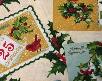 """Yuletide Memories Fabric - 24"""" length suitable for making my Holiday Stars Tree Skirt"""
