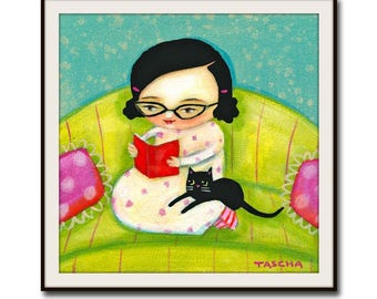 bed time stories with kitty PRINT of a painting by tascha 6x6