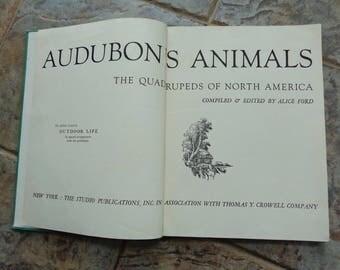 Vintage 1954 Audubons Animals Quadrupeds of North America Hardcover Book