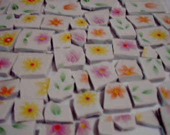 Supplies -Mosaic Tiles-  Flower Chintz Flowers- Garden Fresh Flowers - Vintage-  Tessera Tiles Mosaic Pieces
