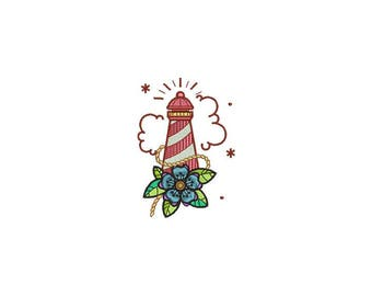 Lighthouse Tattoo Nautical Machine Embroidery File design 4x4 inch hoop - Retro