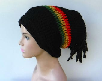 2 in 1 Dread tube or slouchy hat, dreadlocks beanie with open back/black rasta tam hat, man or woman tube hat for dreads/Jamaica slouchy hat
