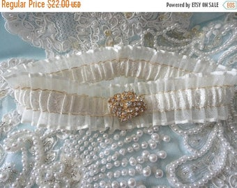 On Sale Ivory-Gold Jeweled Illusion Keepsake Garter-fits 14-18 inches
