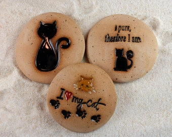 Painted Rocks, Cat lover gifts, I Love My Cat, Cat, I purr therefore I am 3 Ceramic Message Stones, Rock Art, Pocket Stone