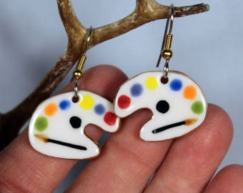 Artist Palette Dangle Porcelain Earrings