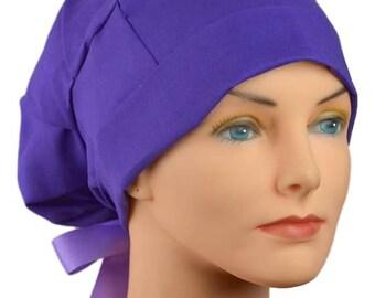 Scrub Hats // Scrub Caps // Scrub Hats for Women // The Hat Cottage // Small // Ribbon Ties // Dark Lavender