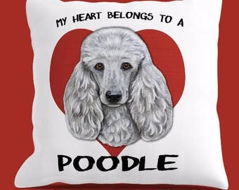 POODLE PILLOW Cover or Pillow, Poodle Pillow, Poodle Throw Pillow, Poodle Lover Gift