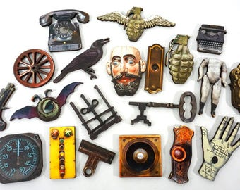 Steampunk Collection -  20 Wood Craft Pieces - Cool Embellishments for Secretive Art Projects
