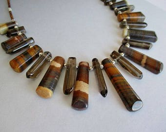 Tiger Eye Smoky Quartz Copper Freshwater Pearls Sterling Silver Necklace