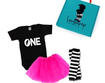 ROCKSTAR BABY Kit ONE black onesie Hot Pink tutu striped leg warmers & optional gift box