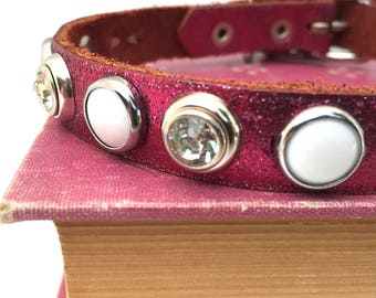 Glitter Pink Leather Dog Collar with Gems and Dots, Size XS to fit a 8-11 Neck, Small Dog Leather Collar, Eco-Friendly, Seattle Handmade