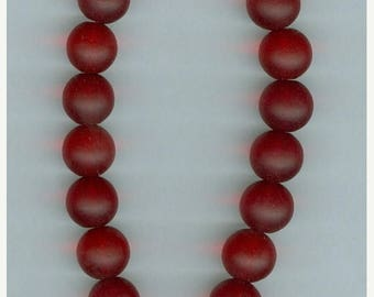CLEARANCE 10mm Dark Red Sea Glass Round Beads 8 inch Strand Focal Seaglass Bead