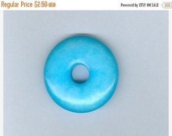 PI DAY SALE Sky Blue Focal, 32mm Sky Blue Jade Gemstone Pi Donut Focal Pendant 1072