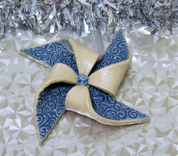 Holiday Ornament - Pinwheel - Unique Ornament - Handcrafted - Stoneware - Blue - Sparkly - Christmas - Ornament Exchange - Keepsake Ornament