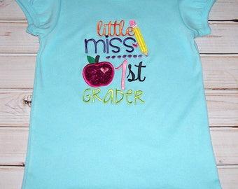 Sample SALE Little Miss 1st Grader Aqua S/S Shirt Size 8--Back to School--Apple--Pencil