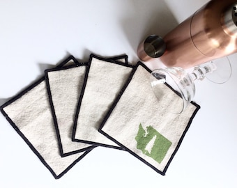 Washington State and Evergreen Handmade Block Printed Cocktail Napkins, Set of Four, Hostess gift, Bar Accessory, State Pride