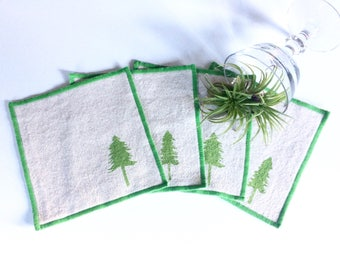 Cocktail Napkin Set of Four with Evergreen Tree design-Handmade in Seattle- 100% cotton cloth coaster-Pacific Northwest