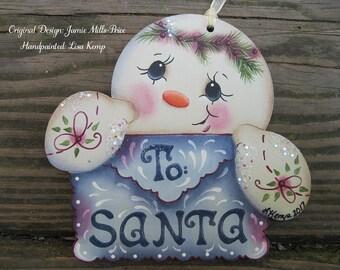 "Adorable ""To Santa"" Letter Snowman Ornament"