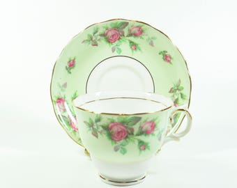 "Vintage Colclough Teacup Tea Cup Saucer Bone China Rose Roses Pink Green Gold ""D"""